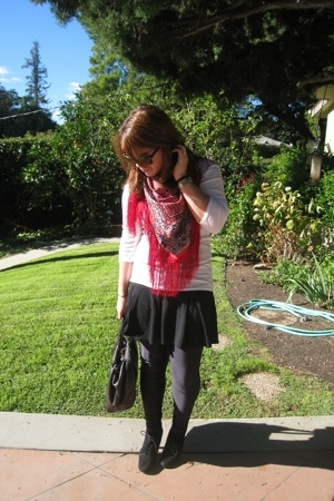 H&M scarf - American Apparel shirt - Old Navy skirt - American Apparel tights -