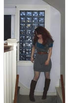 dress - t-shirt - vintage belt - HUE stockings - le chateau boots