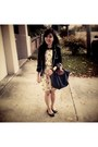 Zara-dress-zara-blazer-longchamp-bag-aldo-flats