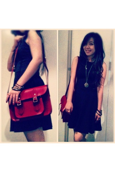 red cambridge satchel bag - Zara dress - Forever New necklace - vintage bracelet