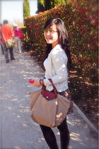 longchamp bag - Mango cardigan - pull&bear skirt - Topshop glasses