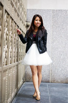 black jacket - brick red H&ampM dress - off white tulle mini Space46 skirt