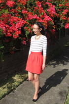 red tulip Zara skirt - striped cotton on top - kathryn Forever New necklace