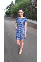 blue polka dot Topshop dress - Mimco heels