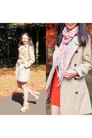 trench Burberry coat - red knit shift Sheike dress - French Connection scarf