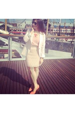 ruby red necklace - salmon H&M shoes - light pink Zara blazer