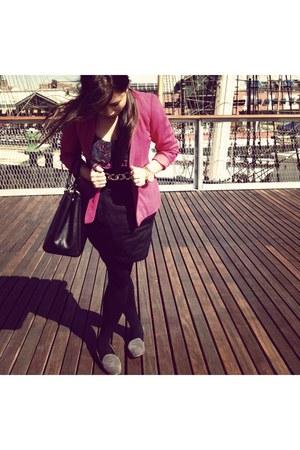 hot pink thrifted vintage blazer - black Prada purse