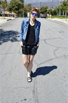 black faux leather H&M shorts - denim jacket Levis jacket