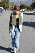 black camisole top - boyfriend jeans jeans - olive green cardigan cardigan