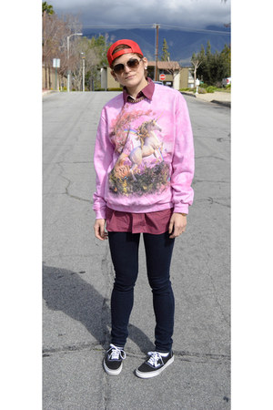 skinny jeans American Eagle jeans - bubble gum unique The Mountain sweatshirt