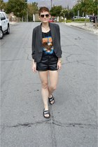 black leather shorts Forever 21 shorts - charcoal gray blazer unknown blazer