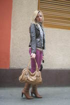 beige Nine West boots - beige Nine West purse - purple Zara pants - brown Vero M