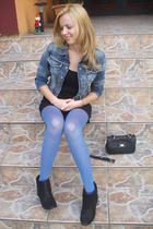 jacket - tights - purse - boots - dress - pants