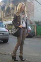 brown Nine West boots - beige Zara pants - brown Nine West purse - brown Vero Mo