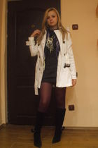 Zara coat - pull&bear dress - pull&bear tights - pull&bear scarf - vintage boots