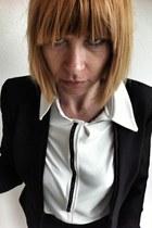 white jersey blouse upper palatinate rocks blouse - black hm blazer