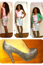 off white floral skirt H&M skirt - light pink H&M shirt