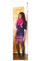 dress - deep purple shoes - navy blazer - hot pink scarf