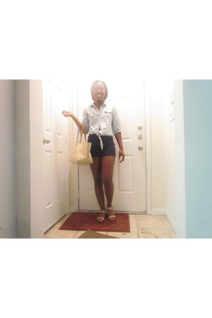 navy bodycon Forever 21 skirt - denim Charlotte Russe shirt