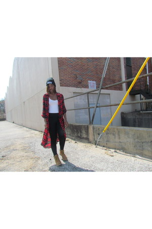 work Rue 21 boots - black Boohoo hat - cotton Forever 21 leggings