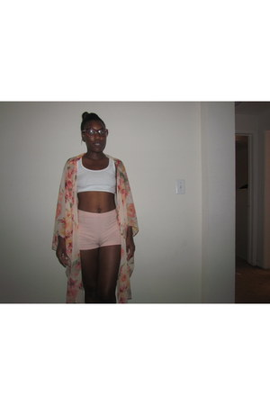 kimono DIY jacket - high waisted Charlotte Russe shorts - cat eye Rue 21 glasses