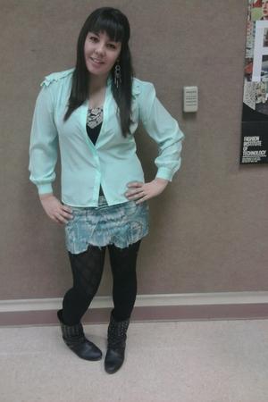 black tights - black shirt - black boots - blue blouse - blue skirt