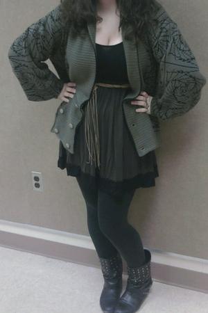black boots - black leggings - brown sweater - brown dress - brown belt