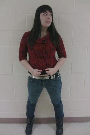 blue jeans - black boots - red jacket - black top
