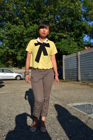 yellow Miss Selfridge blouse - light brown Zara pants - black accessories