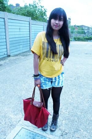 shorts - red longchamp bag - yellow t-shirt