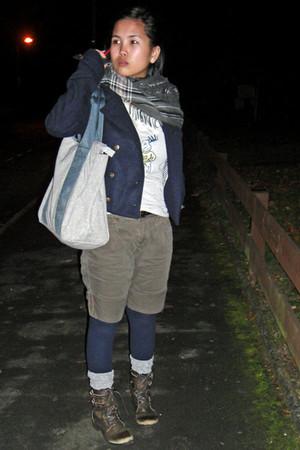 navy Zara coat - light brown Miss Selfridge shorts - dark brown River Island boo
