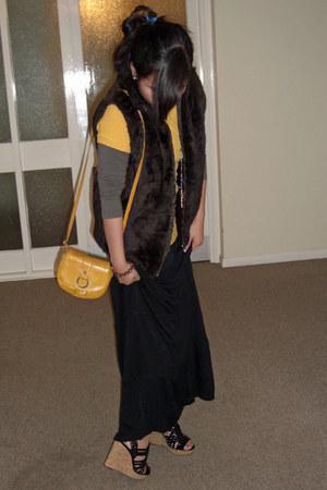 dark brown vintage vest - black Nine West shoes - mustard Miss Selfridge