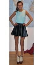 leather Tally Weijl skirt - straight H&M top