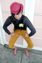 green tailored thrift vest - pink Chinese Laundry shoes - red 1940s vintage hat