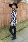 Black-floral-playsuit-dress-black-floppy-h-m-hat
