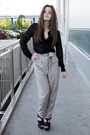 heather gray Zara pants - black New Yorker heels - black H&M blouse