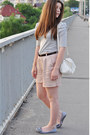 Silver-zara-shirt-off-white-mango-bag-neutral-bershka-shorts-black-h-m-bel