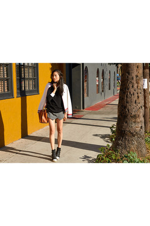white fila jacket - heather gray PERSUNMALL shorts - black LnA top
