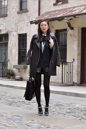 black Zara bag - navy Miu Miu shoes - dark gray Pixie Market jacket