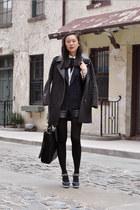 black Zara bag - navy Miu Miu shoes - dark gray Pixie Market jacket