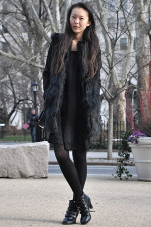 black Zara vest - black s korea shoes - s korea dress - H&M blazer