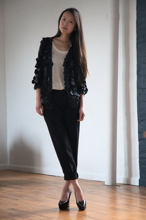 black DIY cardigan - white Forever 21 top - black thrifted  altered pants - blac