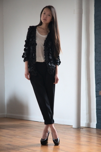 a88185d41dc black DIY cardigan - white Forever 21 top - black thrifted altered pants -  blac