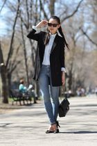 black H&M blazer - black Chanel purse - blue Uniqlo shirt - black H&M shoes - bl