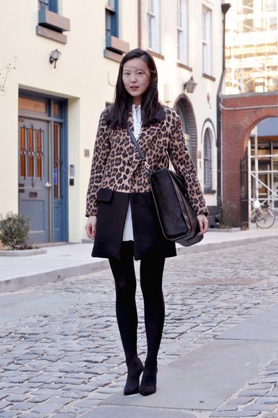 white Chloe dress - brown Zara coat - black Wolford tights - black Zara bag