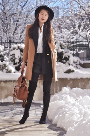 navy blazer - black boots - camel coat - black shorts - white blouse