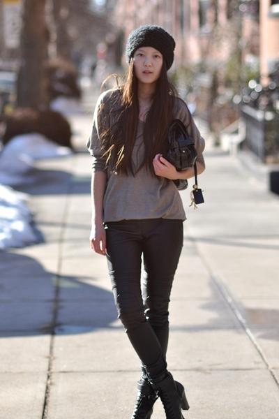 brown Zara sweater - black H&M pants - black s korea shoes - black Chloe purse -