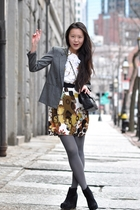 Chloe dress - gray tights - black Jeffrey Campbell shoes - black Chanel purse -