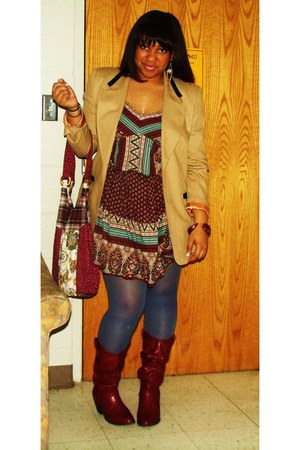 Charlotte Russe boots - alloy dress - Salvation Army blazer - Charlotte Russe ti