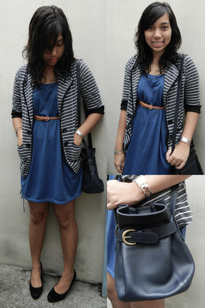 blue solo dress - gray striped landmark blazer - navy blue coach bag - silver Sw